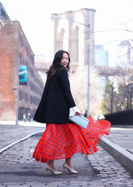 maxi polka dot chiffon skirt black wool coat