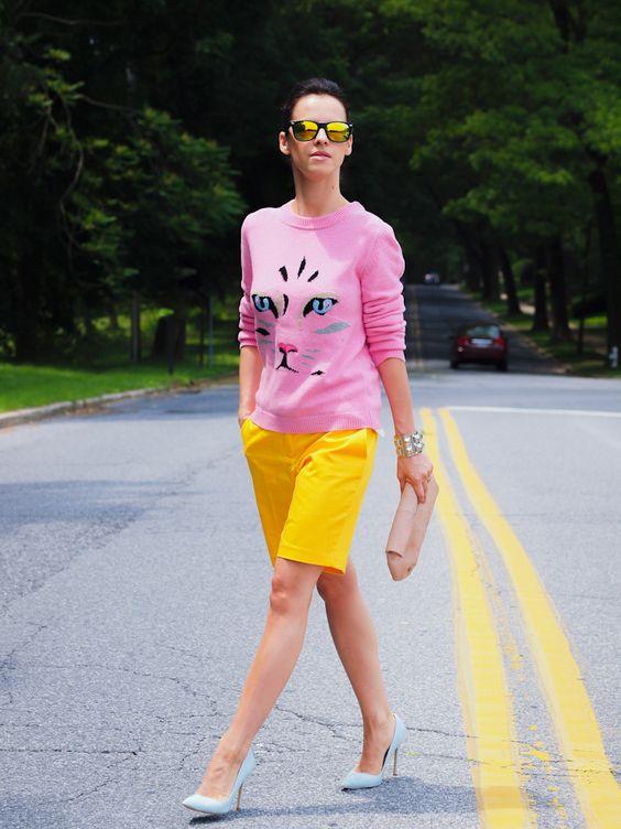 bermuda shorts color block