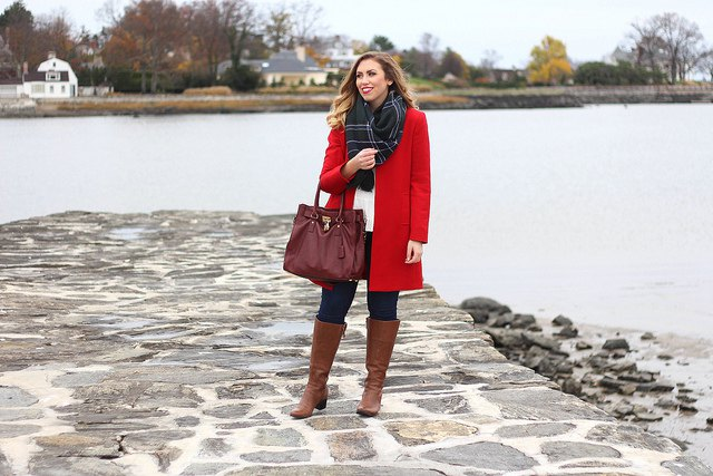 brown leather boots light red long wool coat