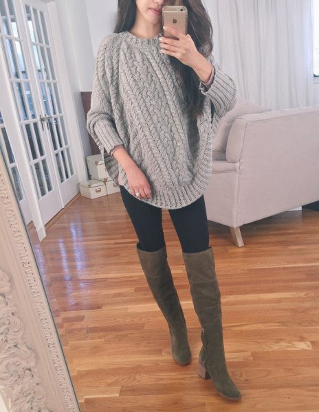 gray chunky cable knitted sweater thigh high boots