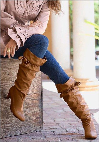 ruffled wide calf boots bell top