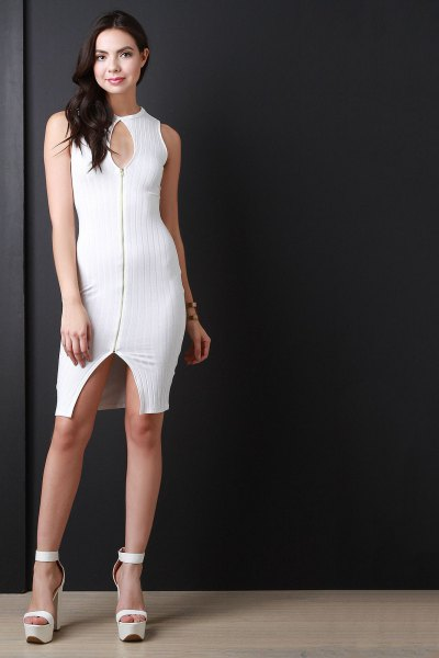 white keyhole with zipper at the front of bodycon mini dress