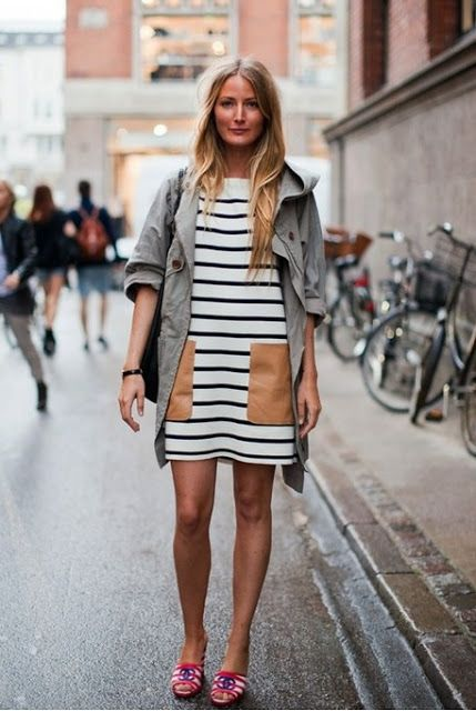 black and white striped leather pockets