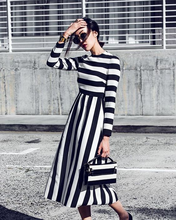 black and white striped dress vintage