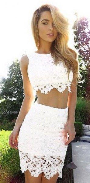 white crochet two-piece bodycon dress