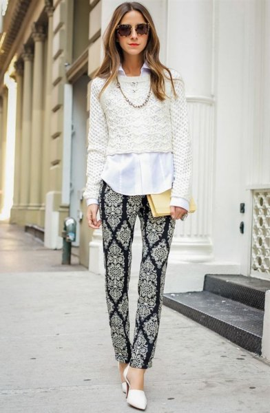 crochet cropped sweater over white button up shirt