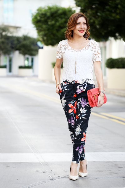 white crocheted black floral pants
