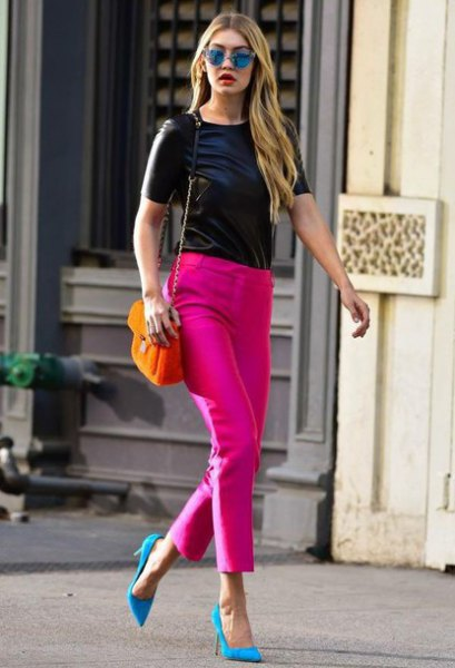 pink pointed toe pumps slim pants black top