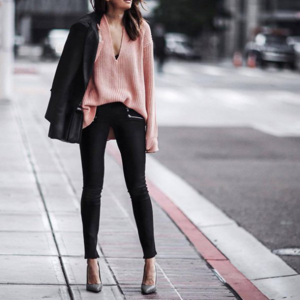 v-neck crepe knit sweater black blazer