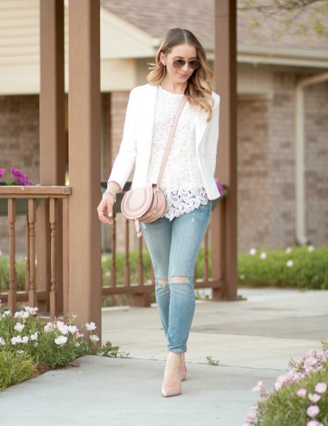 white lace top blazer