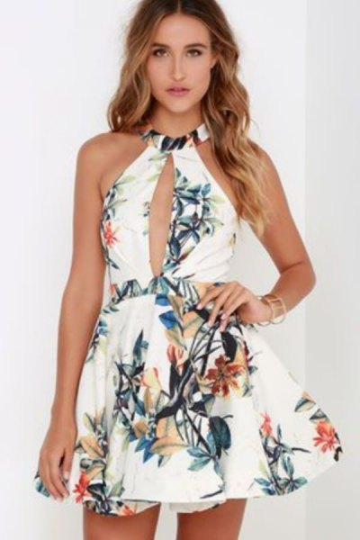 white halter keyhole skater dress