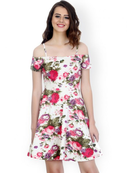 white cold shoulder floral skater dress