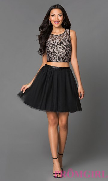 two-piece dress black lace crop top tulle mini dress