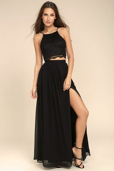 halter crop top black high split maxi skirt
