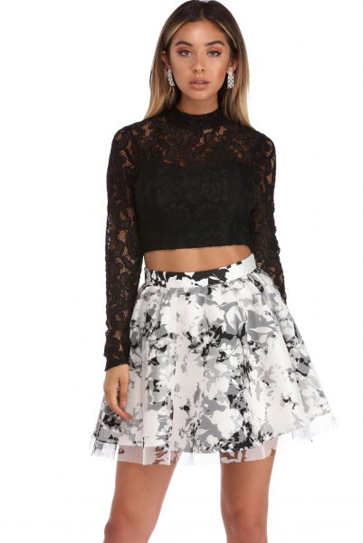 black long sleeve lace crop top floral skate skirt