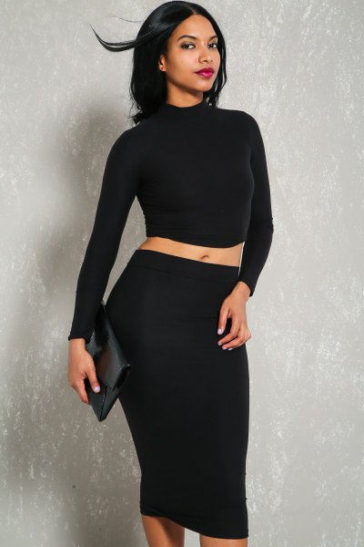 long-sleeved hair loss in two parts bodycon dress