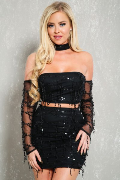 fringe tube dress black choker