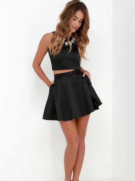 black cropped tank top skater mini skirt