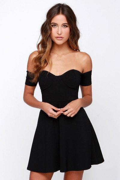 black off shoulder sweetheart neckline skater dress