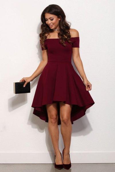 burgundy skater dress black ballet heels