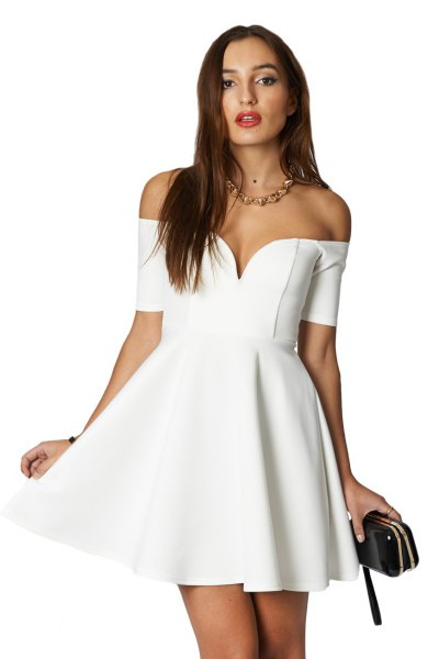white off shoulder deep v-neck skater dress