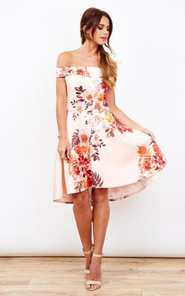 white off shoulder floral, windy dress
