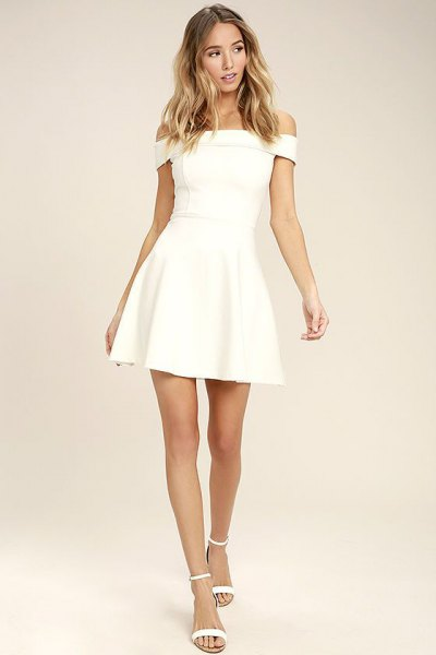 white off shoulder skater dress open toe heels