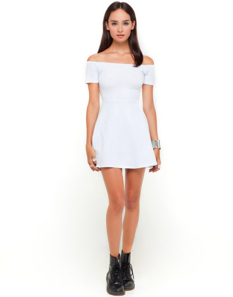 white skater dress black leather ankle