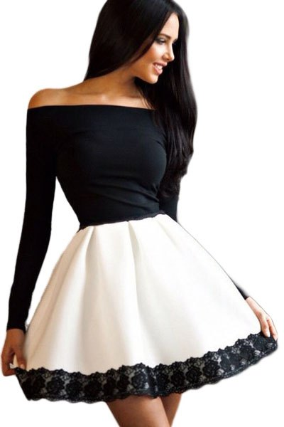 two toned off shoulder skate dress