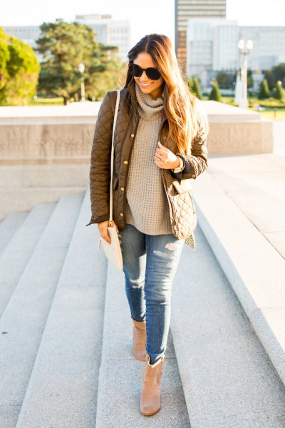 green quilted jacket crepe turtleneck chunky knitted sweater