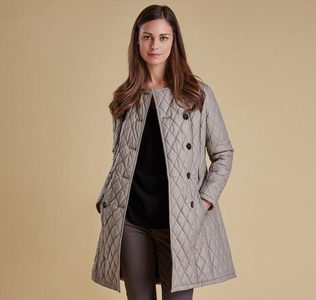 gray long quilted jacket black sweater