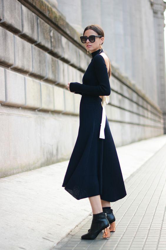 black knit dress open back