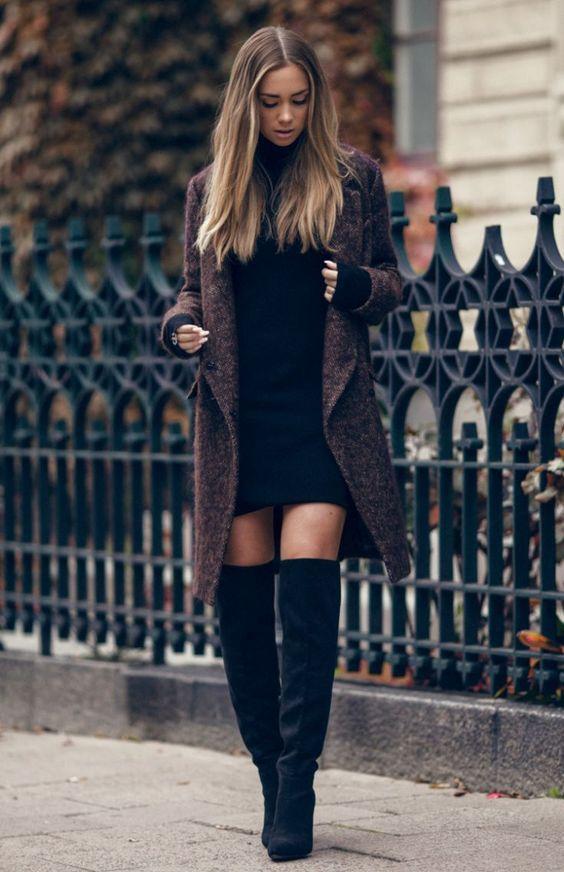 black knit dress long jacket