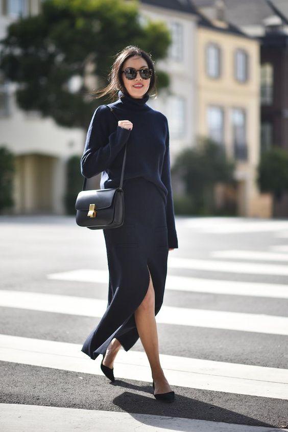 black knitted dress slit
