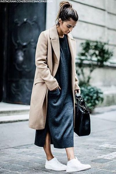 black knit dress camel black