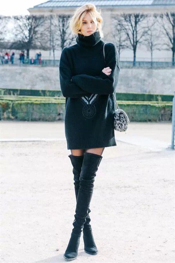 black knit dress model off duty
