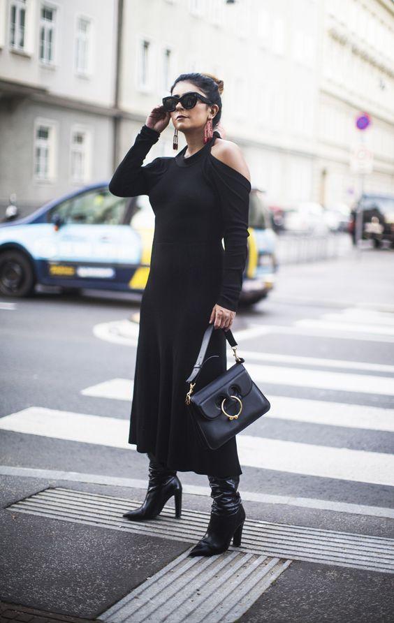 black knit dress cold shoulder