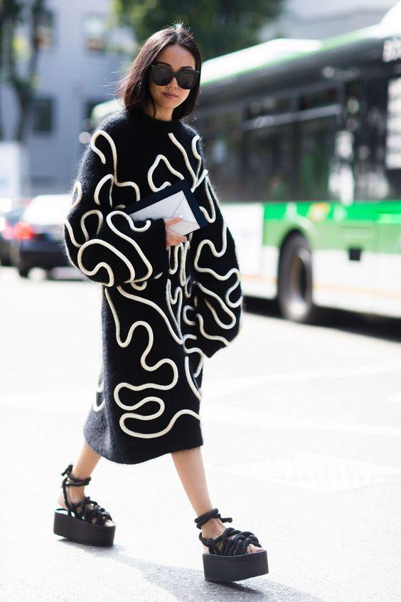 black knit dress chunky