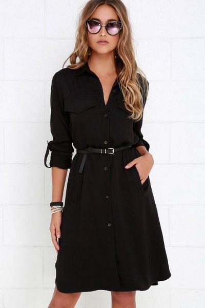black belt trenchcoat dress