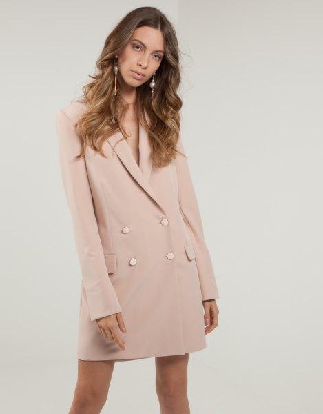 pale pink loose fit blazer jacket