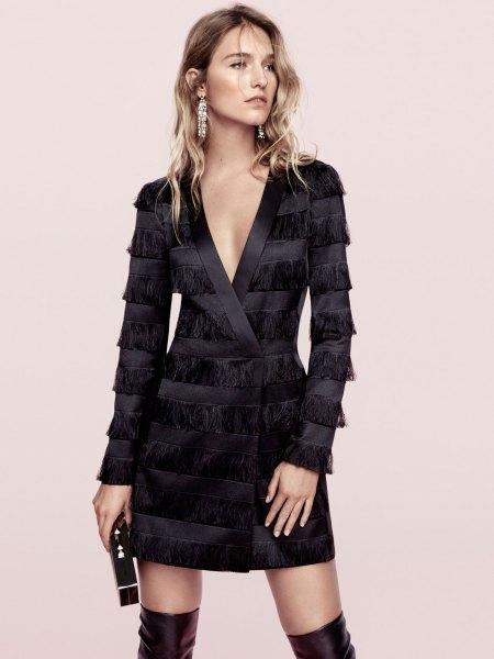 black dress by black fringe coat