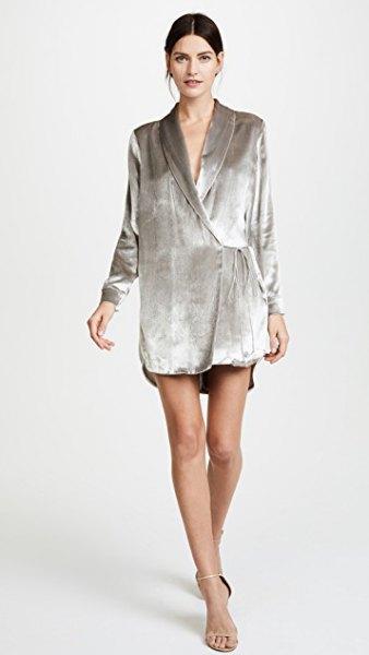 gray velvet loose fit wrap jacket