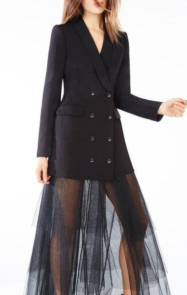 black tuxedo jacket dress mesh sheer overlay