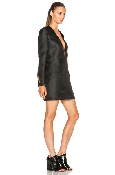 black tuxedo jacket dress open heels