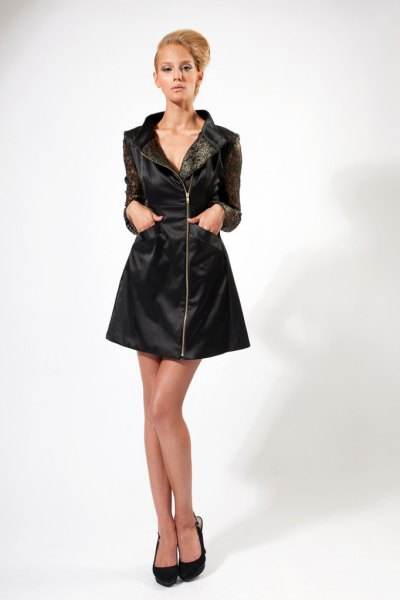 black leather jacket dress ballet heels