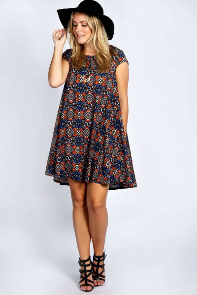 navy and red stem printed sleeves, windy dress