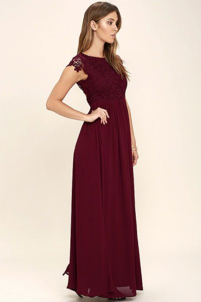 burgundy lace gathered midi dress at the waist