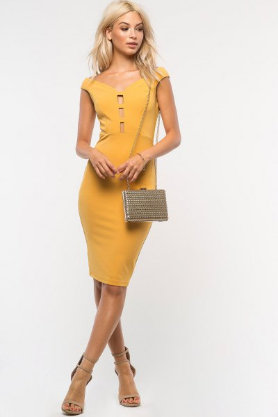 mustard hat in sleeve from shoulder bodycon dress