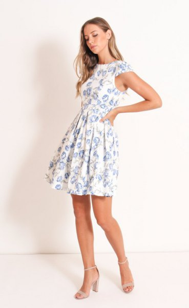 white floral cap in fit and flare mini dress