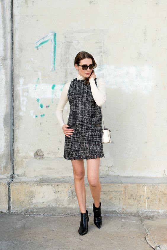 tweed dress layer